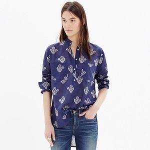 Madewell Collarless Popover Shirt in Flowerstamp